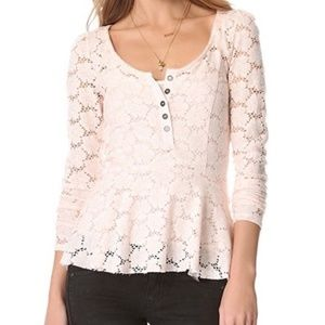 Free People Get Cozy Long Sleeve Lace Top in Floral Pink Scoop Neck Henley Small